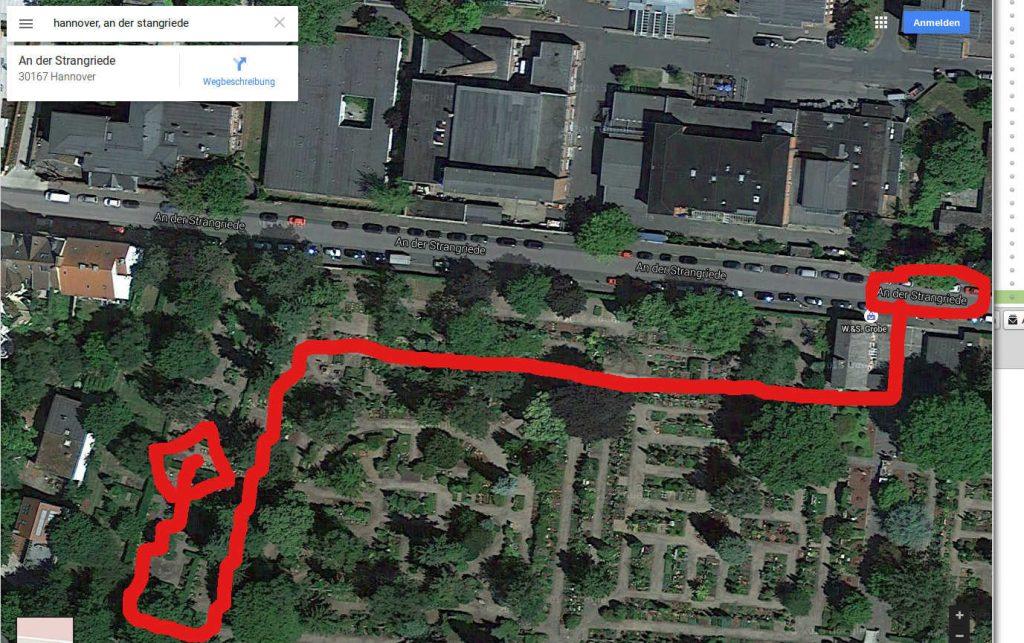 Lageplan von Caro's Grab auf dem Friedhof